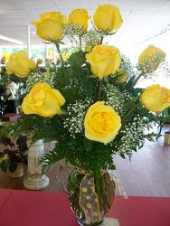 One Dozen Yellow Roses  from Bunn Flowers & Gifts, local florist in Pittsburg, TX