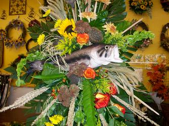 Standing spray of fresh flowers with large bass from Bunn Flowers & Gifts, local florist in Pittsburg, TX