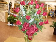 18 Red roses arrangement in a vase