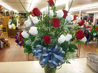 Two dozen red and white roses from Bunn Flowers & Gifts, local florist in Pittsburg, TX