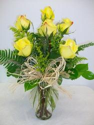 Half dozen yellow roses from Bunn Flowers & Gifts, local florist in Pittsburg, TX
