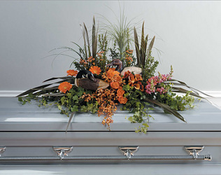 Casket spray with outdoor theme  from Bunn Flowers & Gifts, local florist in Pittsburg, TX