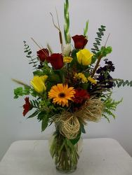 Mixed vase arrangement of assorted fall flowers from Bunn Flowers & Gifts, local florist in Pittsburg, TX