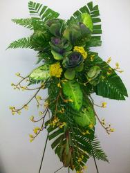 Standing spray of kale, kangaroo paw and mixed greenery from Bunn Flowers & Gifts, local florist in Pittsburg, TX
