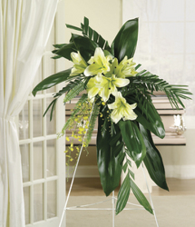 Spray of fresh flowers, aspidistra, palm and fern leaves from Bunn Flowers & Gifts, local florist in Pittsburg, TX