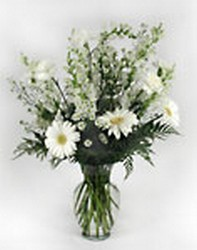 Mixed Vase Arrangement in White Fresh Flowers  from Bunn Flowers & Gifts, local florist in Pittsburg, TX