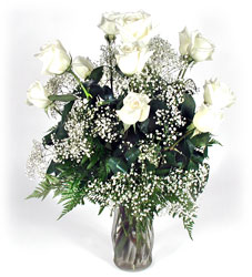 Dozen White Roses in a vase from Bunn Flowers & Gifts, local florist in Pittsburg, TX