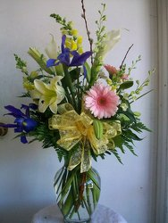 Mixed Vase Arrangement in Pastel Spring Colors from Bunn Flowers & Gifts, local florist in Pittsburg, TX