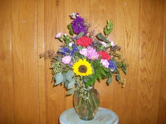 Mixed Vase Arrangement in Bright Summer Flowers from Bunn Flowers & Gifts, local florist in Pittsburg, TX