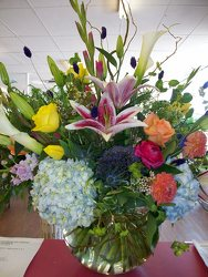 Vase of mixed high-style flowers from Bunn Flowers & Gifts, local florist in Pittsburg, TX