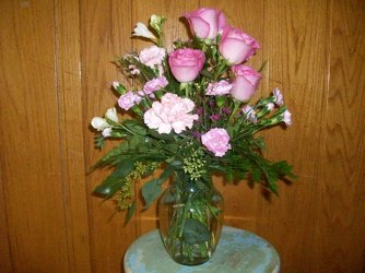 Pink roses and carnations from Bunn Flowers & Gifts, local florist in Pittsburg, TX