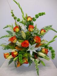 Elegant sympathy arrangement from Bunn Flowers & Gifts, local florist in Pittsburg, TX
