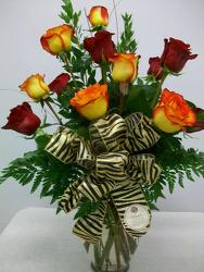Dozen red and yellow roses from Bunn Flowers & Gifts, local florist in Pittsburg, TX